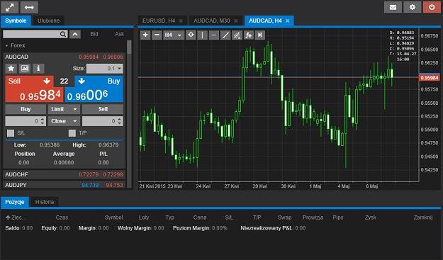 mForex WEB - Okno główne